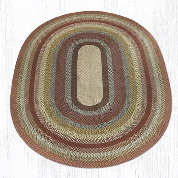 8' x 11' Honey Vanilla Ginger Braided Jute Oval Rug