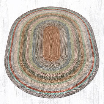 8' x 11' Multi Color Braided Jute Oval Rug