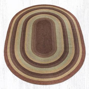 8' x 11' Burgundy/Gray/Cream Braided Jute Oval Rug