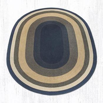 8' x 11' Light Blue Dark Blue Mustard Braided Jute Oval Rug