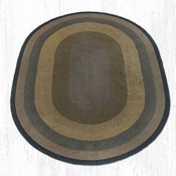 8' x 11' Brown Black Charcoal Braided Jute Oval Rug