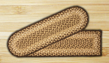 """8.25"""" x 27"""" Chocolate Natural Jute Oval Stair Tread Rug, Set of 2"""