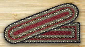 "8.25"" x 27"" Burgundy Olive Charcoal Jute Oval Stair Tread Rug, Set/2"