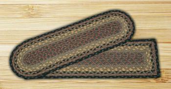 "8.25"" x 27"" Brown Black Charcoal Jute Oval Stair Tread Rug, Set of 2"