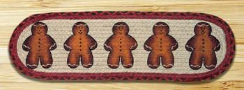 "8.25"" x 27"" Gingerbread Men Braided Jute Oval Stair Tread Rug, Set/2"