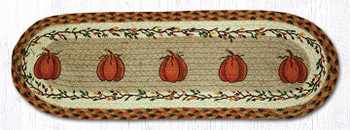 "8.25"" x 27"" Harvest Pumpkins Jute Oval Stair Tread Rugs, Set of 2"