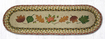 "8.25"" x 27"" Autumn Leaves Braided Jute Oval Stair Tread Rugs, Set of 2"