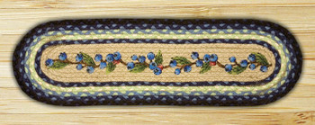 """8.25"""" x 27"""" Blueberry Braided Jute Oval Stair Tread Rug, Set of 2"""