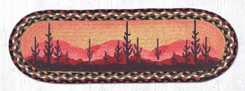 "8.25"" x 27"" Desert Sunset Braided Jute Oval Stair Tread Rugs, Set of 2"