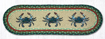 """8.25"""" x 27"""" Blue Crabs Braided Jute Oval Stair Tread Rugs, Set of 2"""