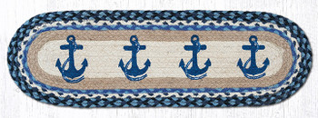 """8.25"""" x 27"""" Navy Anchors Braided Jute Oval Stair Tread Rugs, Set of 2"""