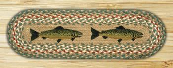 "8.25"" x 27"" Fish Braided Jute Oval Stair Tread Rug, Set of 2"