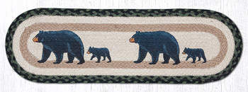 "8.25"" x 27"" Mama and Baby Bear Jute Oval Stair Tread Rugs, Set of 2"