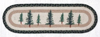 """8.25"""" x 27"""" Tall Timber Trees Jute Oval Stair Tread Rugs, Set of 2"""