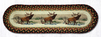 "8.25"" x 27"" Winter Elk Braided Jute Oval Stair Tread Rugs, Set of 2"