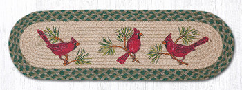"8.25"" x 27"" Red Cardinal Birds Jute Oval Stair Tread Rugs, Set of 2"