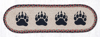 "8.25"" x 27"" Bear Paws Braided Jute Oval Stair Tread Rugs, Set of 2"