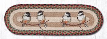 "8.25"" x 27"" Chickadee Birds Jute Oval Stair Tread Rugs, Set of 2"