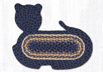 "14.5"" x 19.5"" Light & Dark Blue Mustard Cat Shaped Jute Rugs, Set of 2"