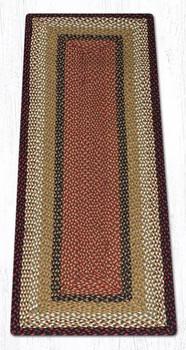 2' x 6' Burgundy Mustard Braided Jute Rectangle Runner Rug