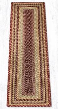 2' x 8' Burgundy Gray Cream Braided Jute Rectangle Runner Rug