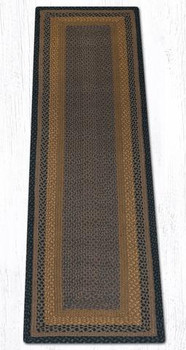 2' x 8' Brown Black Charcoal Braided Jute Rectangle Runner Rug