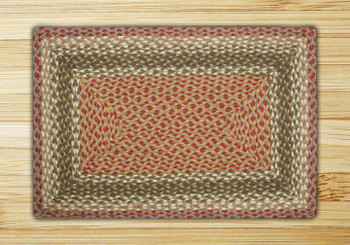 "20"" x 30"" Olive Burgundy Gray Braided Jute Rectangle Rug"