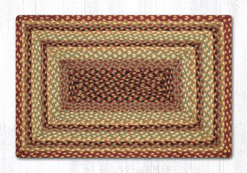 "20"" x 30"" Burgundy Gray Cream Braided Jute Rectangle Rug"