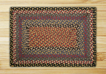 "20"" x 30"" Burgundy Blue Gray Braided Jute Rectangle Rug"
