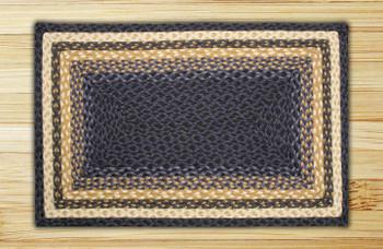 "20"" x 30"" Light Blue Dark Blue Mustard Braided Jute Rectangle Rug"