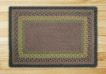 "20"" x 30"" Brown Black Charcoal Braided Jute Rectangle Rug"
