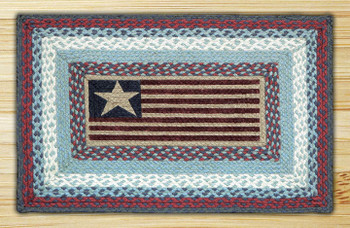 "20"" x 30"" American Flag Braided Jute Rectangle Rug"