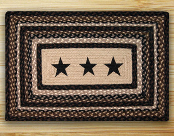 "20"" x 30"" Black Stars Braided Jute Rectangle Rug"
