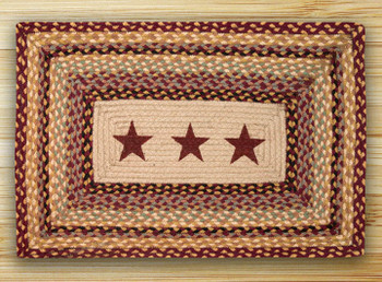 "20"" x 30"" Burgundy Stars Braided Jute Rectangle Rug"
