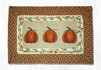 "20"" x 30"" Harvest Pumpkins Braided Jute Rectangle Rug by Susan Burd"