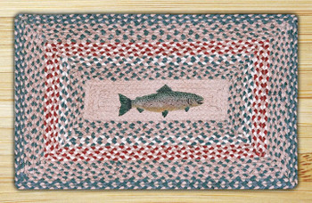 "20"" x 30"" Fish Braided Jute Rectangle Rug"