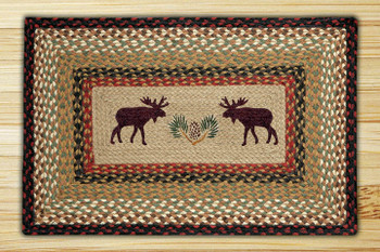 "20"" x 30"" Moose and Pinecone Braided Jute Rectangle Rug"