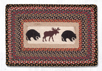 "20"" x 30"" Bears and Moose Braided Jute Rectangle Rug"