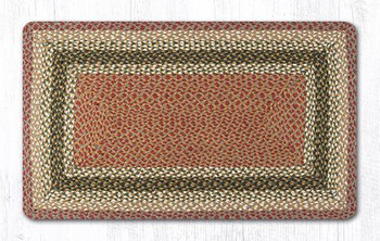 "27"" x 45"" Olive Burgundy Gray Braided Jute Rectangle Rug"