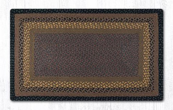 "27"" x 45"" Brown Black Charcoal Braided Jute Rectangle Rug"