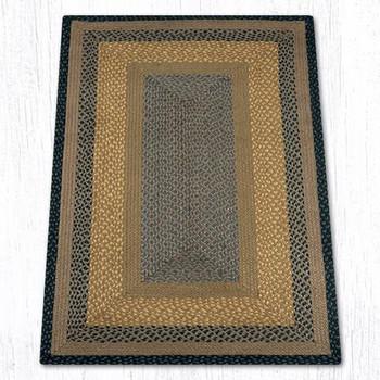 3' x 5' Brown Black Charcoal Braided Jute Rectangle Rug
