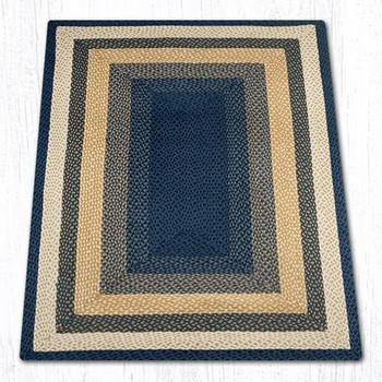 4' x 6' Light Blue Dark Blue Mustard Braided Jute Rectangle Rug