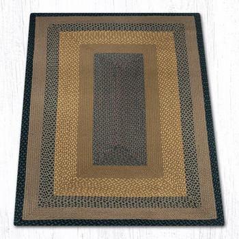 4' x 6' Brown Black Charcoal Braided Jute Rectangle Rug