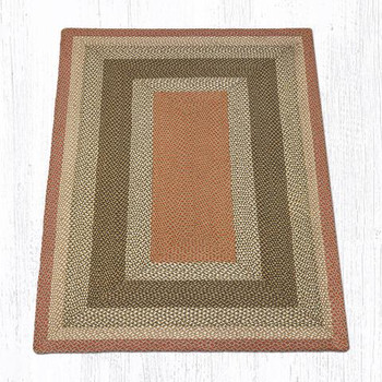 5' x 8' Olive Burgundy Gray Braided Jute Rectangle Rug