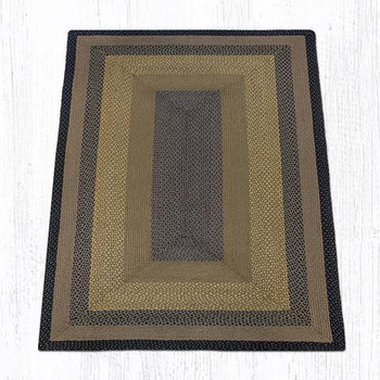 5' x 8' Brown Black Charcoal Braided Jute Rectangle Rug