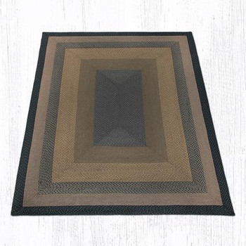 8' x 10' Brown Black Charcoal Braided Jute Rectangle Rug