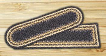 "8.25"" x 27"" Light & Dark Blue Mustard Rectangle Stair Tread Rug, Set/2"