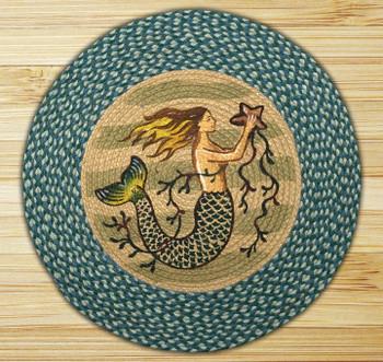 """27"""" Mermaid Braided Jute Round Rug by Phyllis Stevens"""