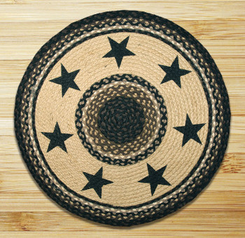 "27"" Black Stars Braided Jute Round Rug"