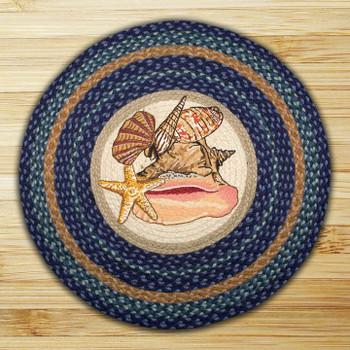 "27"" Sea Shells Braided Jute Round Rug by Harry W. Smith"